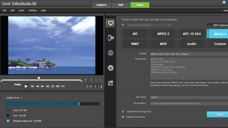 Corel VideoStudio X8 Export - your video using the Share tab