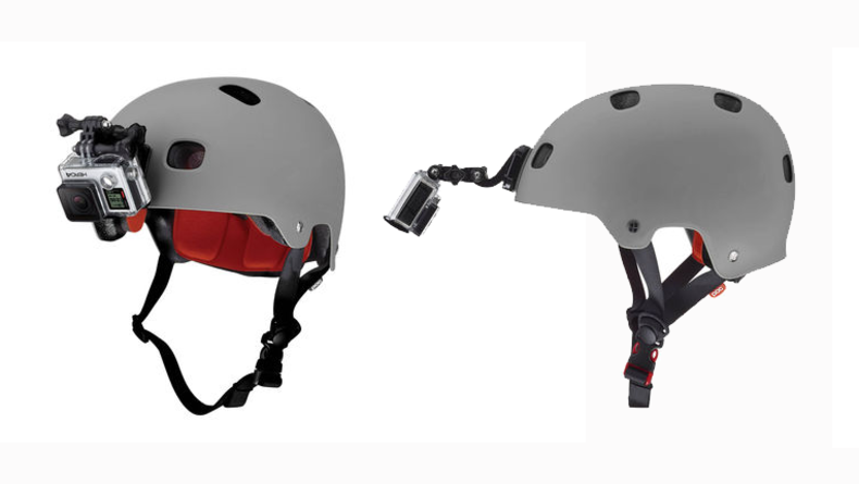 GoPro mounted to helmet - front mount and longer arm option