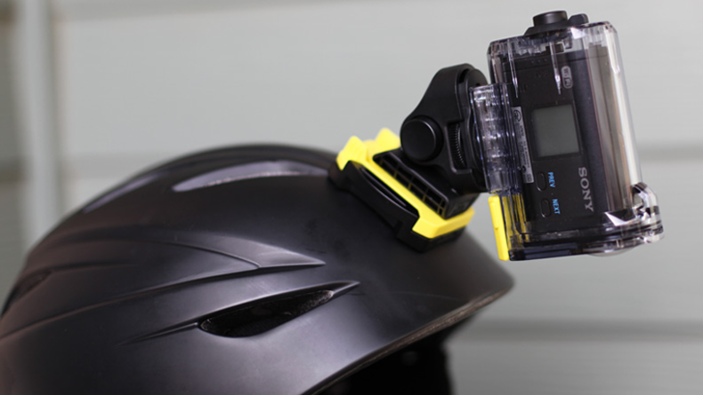Sony Action Camera mounted to helmet - pointing down at wearer