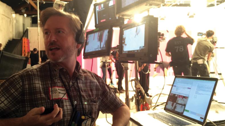 Script supervisor Robert Moon at work