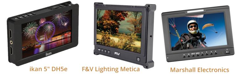 "ikan 5"" DH5e, F&V Lighting Metica FM HDMI and Marshall Electronics V-LCD70"