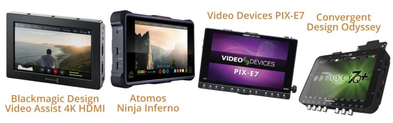 "Blackmagic Design Video Assist 4K, Atomos Ninja Inferno, Video Devices PIX-E7 7"" and Convergent Design Odyssey 7Q"