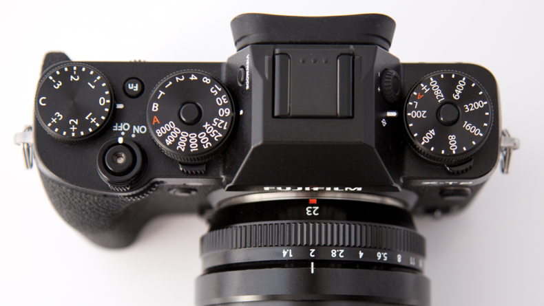Top view of the Fuji X-T2
