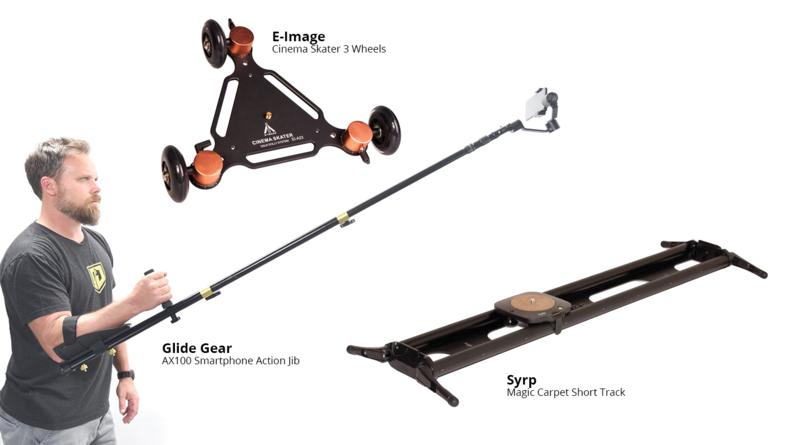 Glide Gear AX100 Smartphone Action Jib, E-Image Cinema Skater 3 Wheels and Syrp Magic Carpet Short Track
