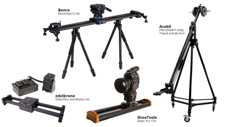 edelkrone SliderPlus and Motion Kit, Benro MoveOver12 Kit, ShooTools  Slider Pro 150 and Acebil PRO3500KIT Dolly, Tripod and Jib Arm