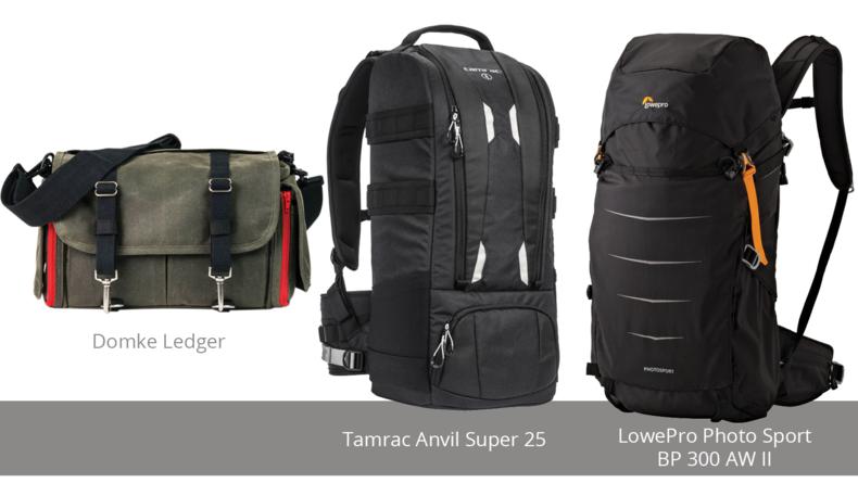 Domke Ledger, Tamrac Anvil Super 25 and LowePro Photo Sport BP 300 AW II
