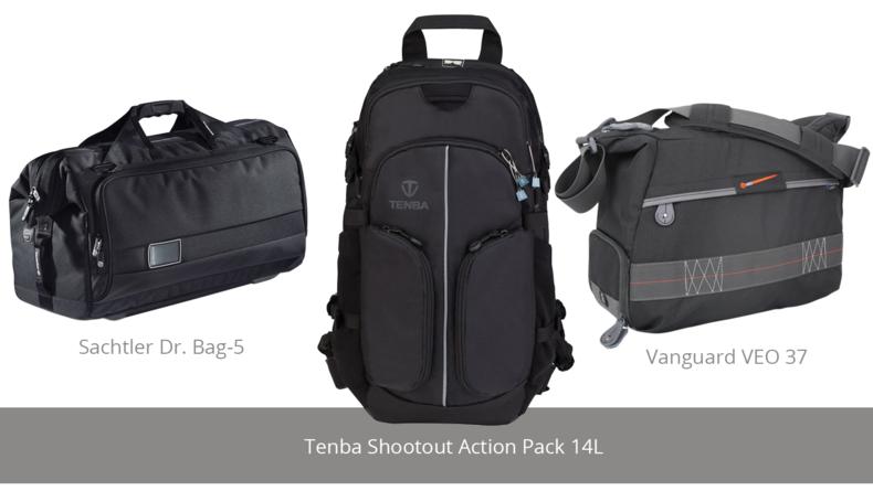 Sachtler Dr. Bag-5, Tenba Shootout Action Pack 14L and Vanguard VEO 37
