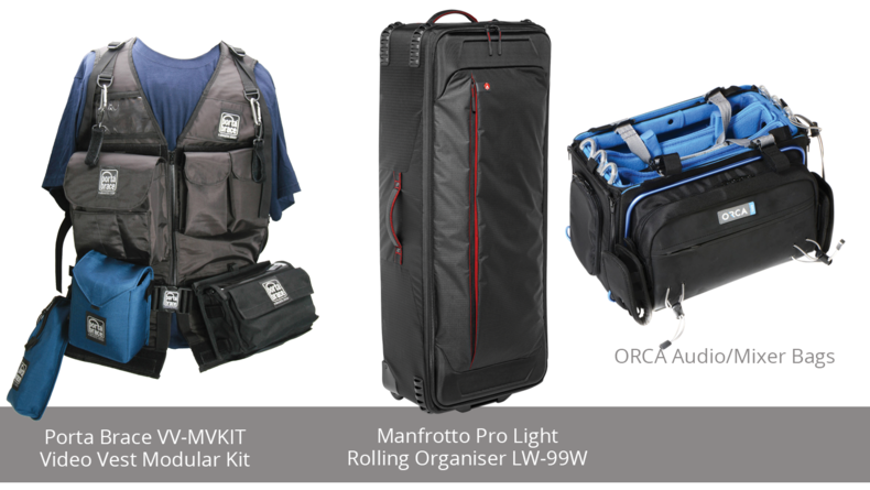 Porta Brace VV-MVKIT  Video Vest Modular Kit, Manfrotto Pro Light  Rolling Organiser LW-99W and ORCA Audio/Mixer Bags