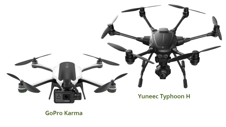 GoPro Karma and Yuneec Typhoon H