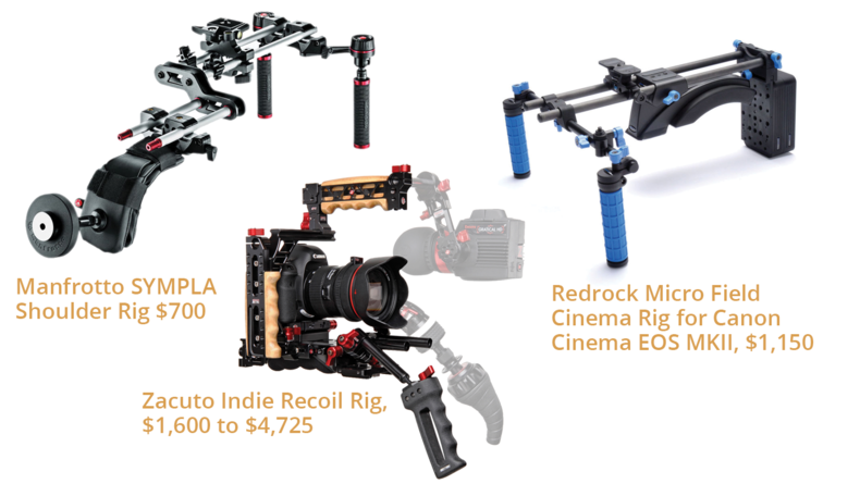 Manfrotto SYMPLA Shoulder Rig $700, Zacuto Indie Recoil Rig, $1,600 to $4,725 and Redrock Micro Field Cinema Rig for Canon Cinema EOS MKII, $1,150