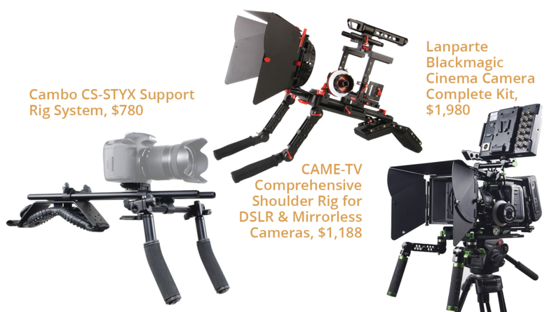 Cambo CS-STYX Support Rig System, $780, CAME-TV Comprehensive Shoulder Rig for DSLR & Mirrorless Cameras, $1,188 and Lanparte Blackmagic Cinema Camera Complete Kit, $1,980