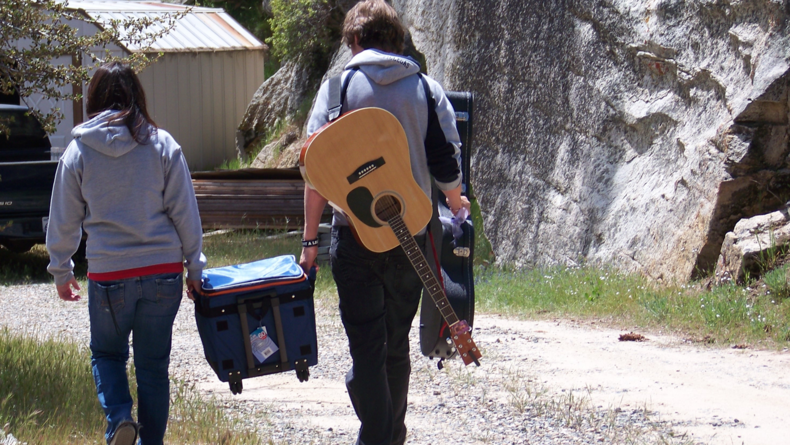 One of the actors is bringing his guitar to entertain us during lunch and breaks.