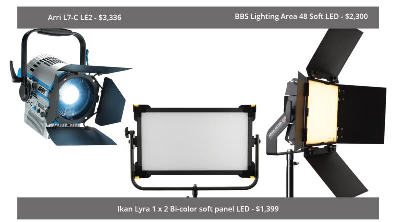 Arri L7-C LE2, Ikan Lyra 1 x 2 Bi-color soft panel LED and BBS Lighting Area 48 Soft LED
