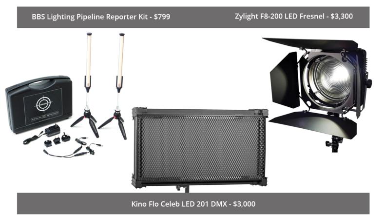 BBS Lighting Pipeline Reporter Kit, Kino Flo Celeb LED 201 DMX and Zylight F8-200 LED Fresnel