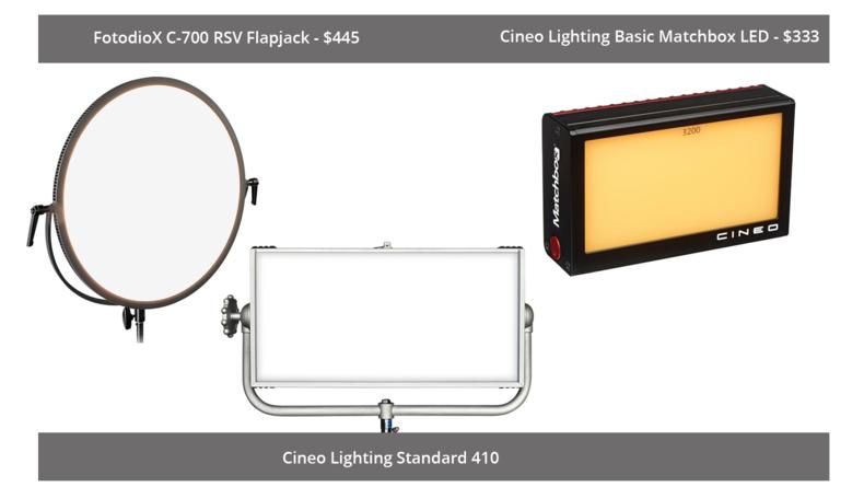 FotodioX C-700 RSV Flapjack, Cineo Lighting Standard 410 and Cineo Lighting Basic Matchbox LED