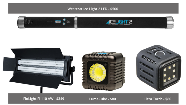 FloLight Fl 110 AW, Westcott Ice Light 2 LED, LumeCube and Litra Torch