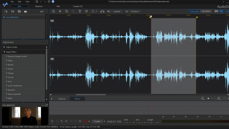 AudioDirector provides audio editing tools.