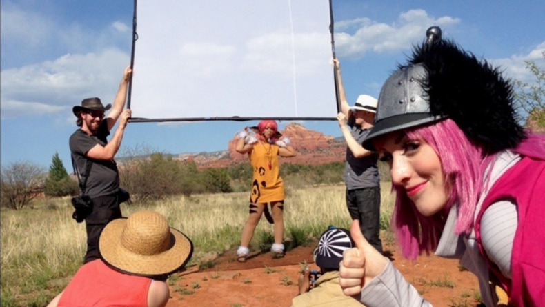 My crew using a scrim in Red Rock State Park, AZ to soften the harsh desert sunlight. Bianca approves.