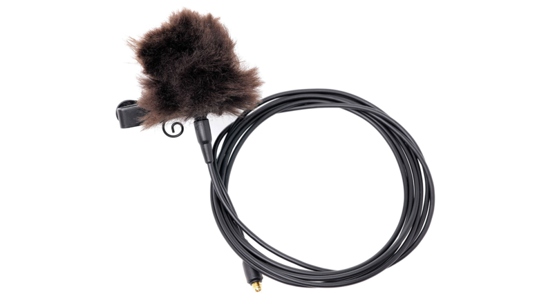 Fuzzy windscreens are used to shield from wind and are very good at reducing the sound of clothing rubbing against the microphone