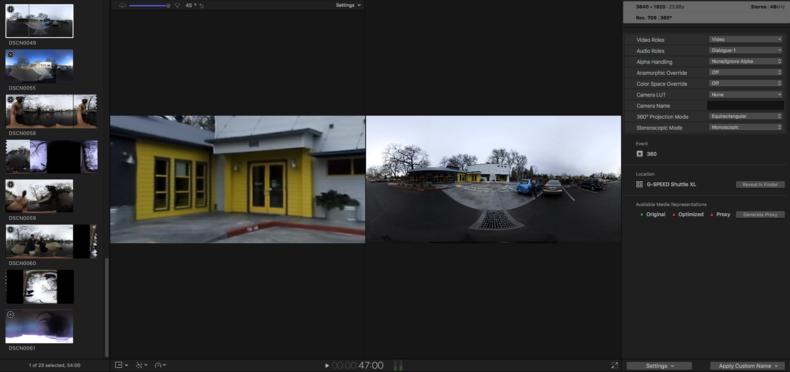 360 video in Final Cut Pro X