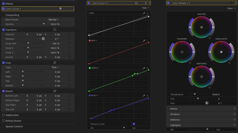 Color Wheels Curves Panel
