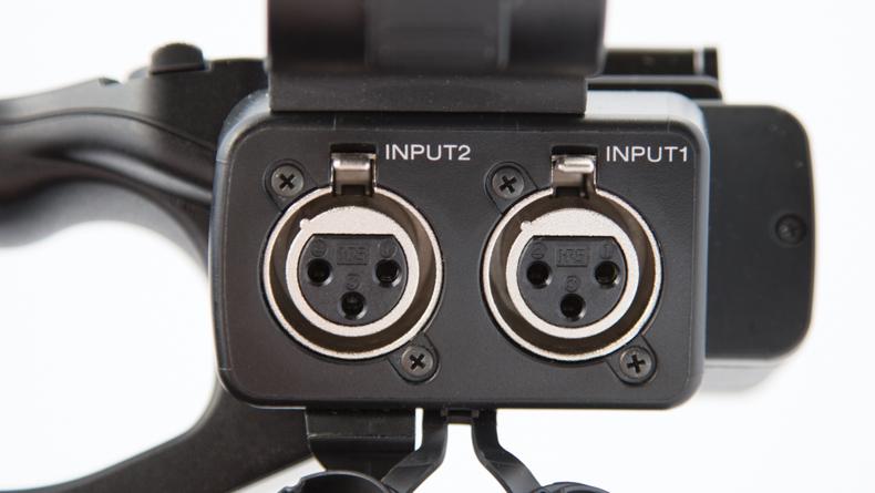 XLR inputs on handle