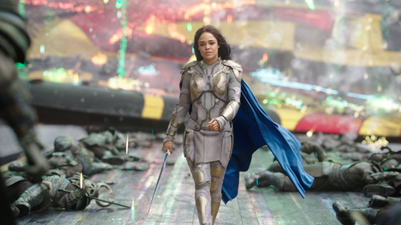 """Valkrye, played by Tessa Thompson, arrives at the battle scene in Taika Waititi's """"Thor Ragnarok,"""" walking at about 60 fps."""