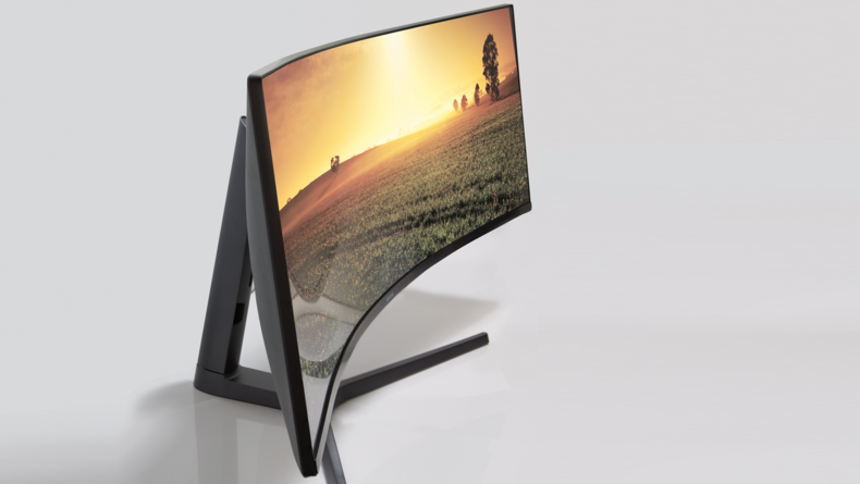 The monitor's curve is significant, but hardly noticeable when in use.
