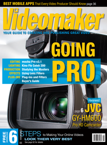 Videomaker May 2013 cover image featuring JVC GY-HM600