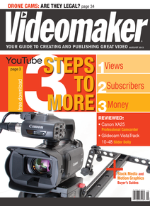 Videomaker August 2013 image featuring Canon XA25 and Glidecam VistaTrack 10-48