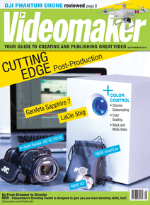 Videomaker September 2013 cover featuring JVC GC-PX100 Camcorder LaCie 5big Thunderbolt RAID  GenArts Sapphire 7 Visual Effects Software RØDE iXY and smartLav Microphones