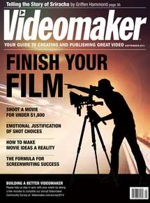 Videomaker September 2014 cover with silhouetted videographer on bright background