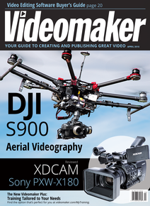 Videomaker April 2015 Cover featuring the DJI S900