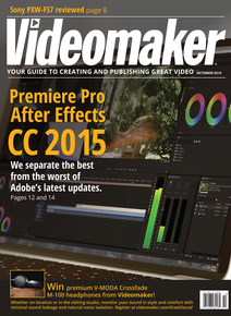Videomaker October 2015 cover featuring Adobe Premiere Pro CC 2015