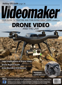 Videomaker December 2015 cover featuring 3DR drone