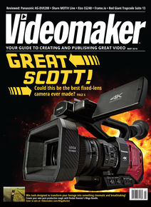 Videomaker May 2016 Cover featuring the Panasonic AG-DVX200