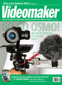 Videomaker August 2016 Cover featuring the DJI OSMO