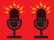 Graphic of a pair of mics with animated sound waves emanating from them