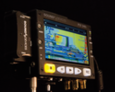 Photo of Sound Devices monitor showing shot assist tools.