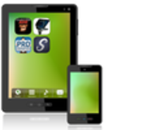 Image of a smartphone and tablet with mobile app icons displayed onscreen.