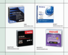 Photos of imation, IBM, Sony and Maxell tapes