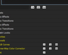 Image of Effects folder with Favorites highlighted.