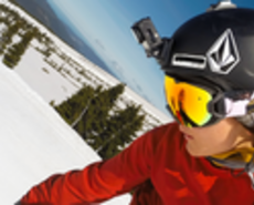 Skier with a GoPro Action Camera mounted to helmet
