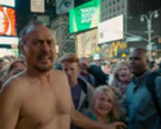 """Scene in """"Birdman"""" when Michael Keaton exits the theater into times square"""