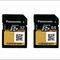 Two dull yellow media cards with QR codes on the face