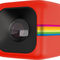 A red cube with a lens and rainbow stripe