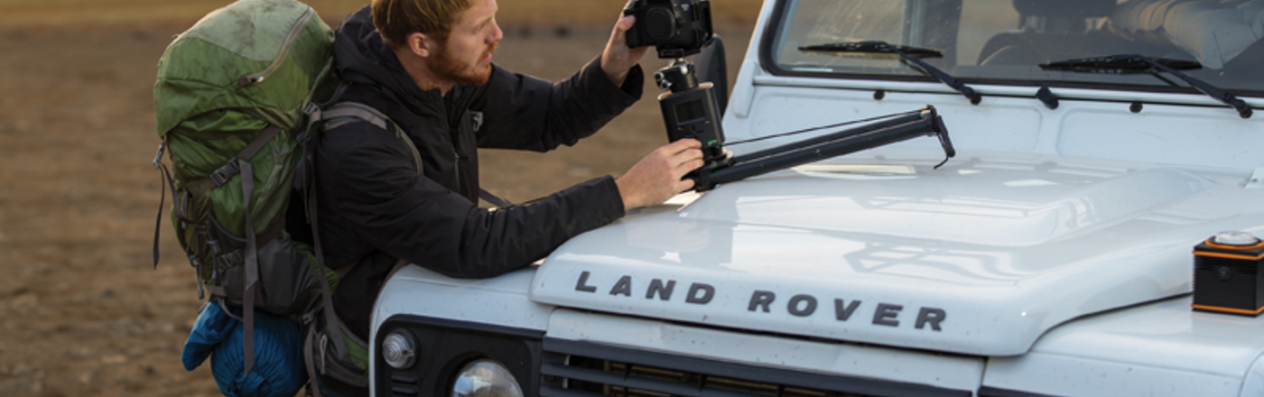 Aaron Grimes setting up the Syrp Genie with Syrp Magic Carpet slider shooting for Lightroom Mobile - Iceland (https://vimeo.com/104941992) Photo by Ben Grimes.