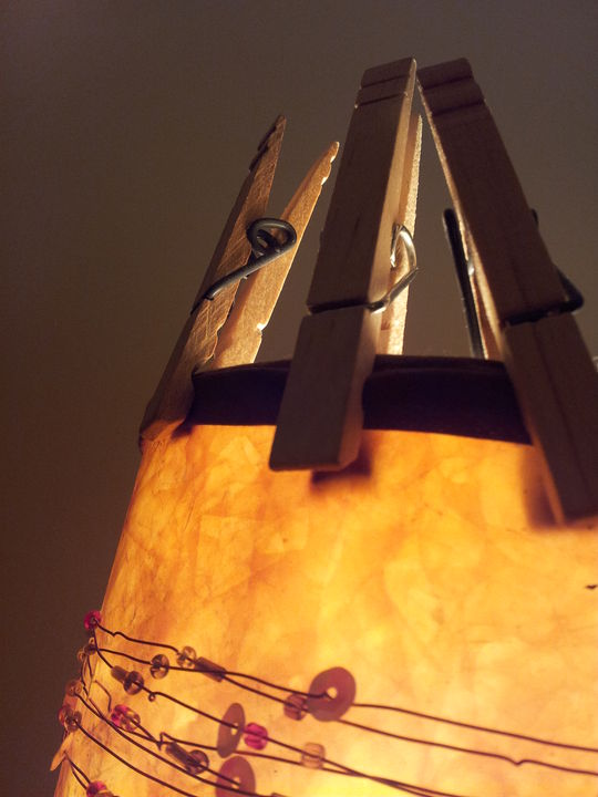 Collection of clothespin on a light