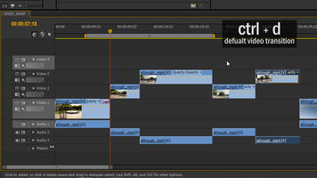 screen shot of premiere pro timeline with control-D shortcut text