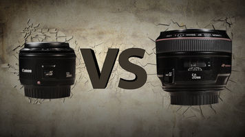 A Canon Standard f1.8 50mm lens and a Canon L Series 50mm f1.2 lens vith VS between them